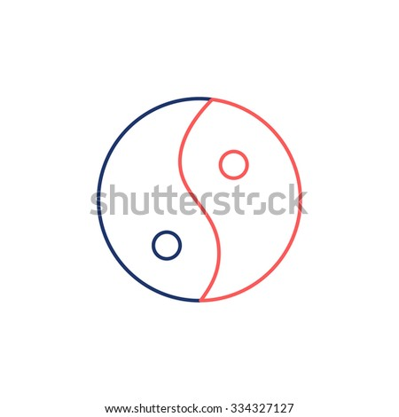 Ying yang linear red and blue icon symbol of harmony and balance on white background | flat design alternative healing illustration and infographic - stock vector