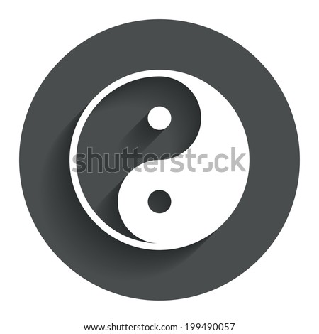 Ying yang sign icon. Harmony and balance symbol. Circle flat button with shadow. Modern UI website navigation. Vector - stock vector