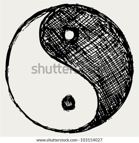 Ying yang sketch symbol - stock vector