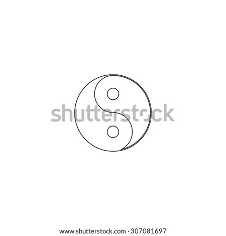 Ying yang symbol of harmony and balance. Outline black simple vector pictogram - stock vector
