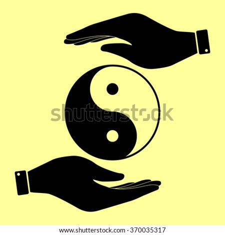 Ying yang symbol of harmony and balance. Save or protect symbol by hands. - stock vector