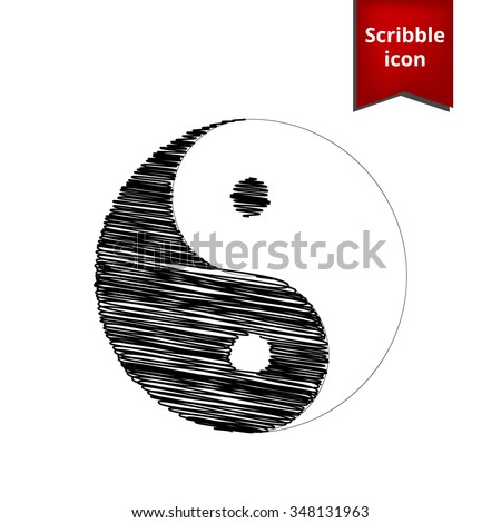 Ying yang symbol of harmony and balance with pen and school paper effect. Scribble icon for you design.   - stock vector