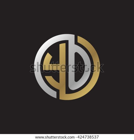 YO initial letters looping linked circle elegant logo golden silver black background - stock vector