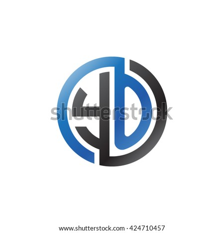 YO initial letters looping linked circle logo blue black - stock vector