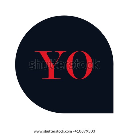 YO Letters red , Abstract black background logo, Design identity in shape, Alphabet letter - stock vector