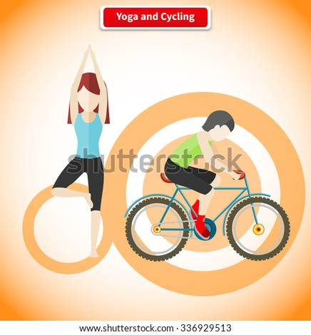 Yoga and cycling sport concept design. Meditation and fitness, yoga poses, exercise and zen, cycling race, cyclist on mountain bike, healthy activity man, human body aerobic illustration - stock vector