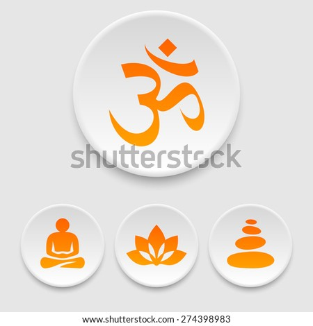 Yoga and meditation icons - stock vector