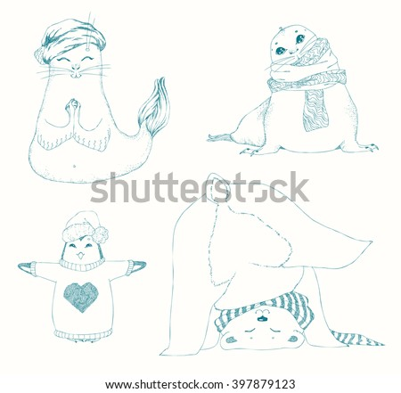 Yoga animal kids set, Gymnastics for children and healthy lifestyle. Seal, penguin, polar bear. Winter animals in caps and scarfs, Christmas design. Hand drawn vector illustration.  - stock vector