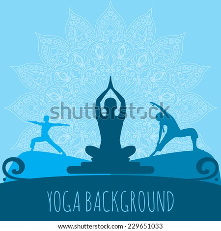 Yoga background. Ethnic ornament and human silhouette. Eps 10 vector illustration. - stock vector