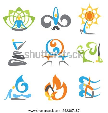 Yoga emblems religion spiritual and fitness practice elements set isolated vector illustration - stock vector