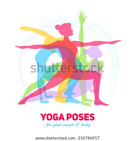 Yoga fitness concept with girl silhouettes in different poses vector illustration - stock vector