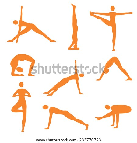 Yoga fitness orange icons. Set of nine orange  yoga and fitness icons. Vector illustration.  - stock vector