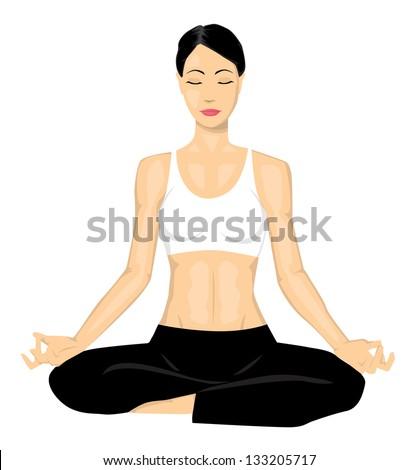 Yoga girl - stock vector