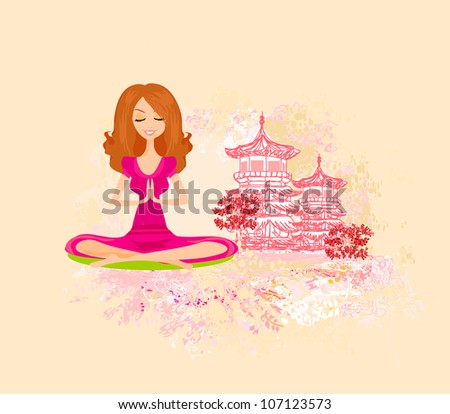 Yoga girl in lotus position - stock vector