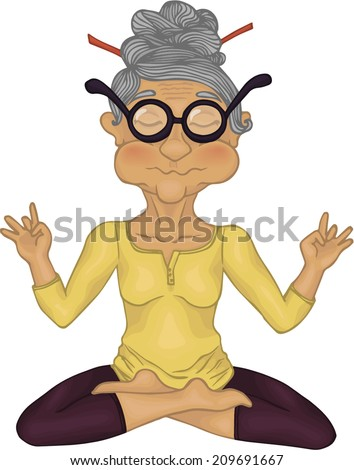 Yoga. Granny in meditation. - stock vector