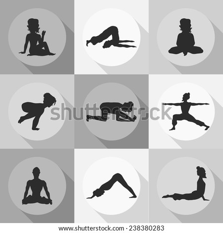 yoga icons (Doodle set) grayscale - position, asana - stock vector