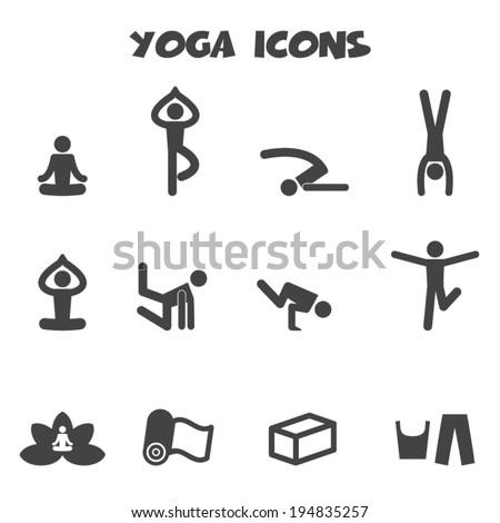 yoga icons, mono vector symbols - stock vector