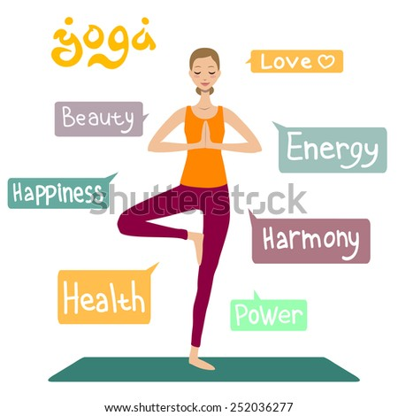 Yoga infographic of 7 advantages. Girl in asana. - stock vector