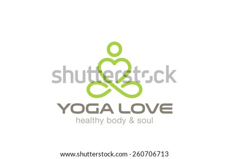 Yoga Logo design vector template. Man of Heart shape. Like & Love yoga concept icon. Meditation SPA Logotype. - stock vector