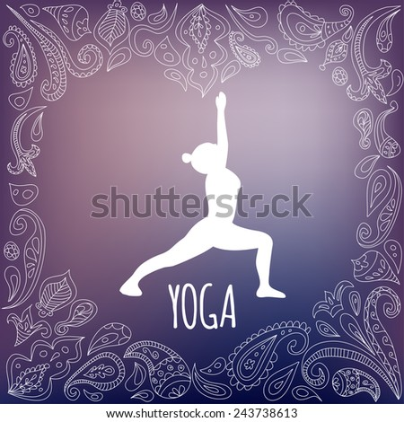 Yoga logo with heart frame and girl practicing  Warrior I Pose (Virabhadrasana I). White silhouette and beautiful purple gradient background. Paisley ornament. - stock vector