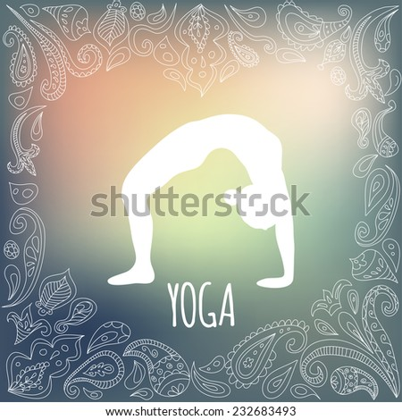 Yoga logo with heart frame and girl practicing wheel pose urdhva