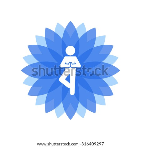 Yoga Lotus Blue Icon with People Silhouette. Vector - stock vector