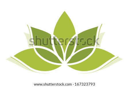 Yoga lotus green illustration - stock vector