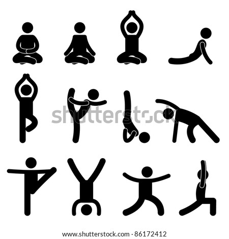 Yoga Meditation Exercise Stretching People Icon Sign Symbol Pictogram - stock vector