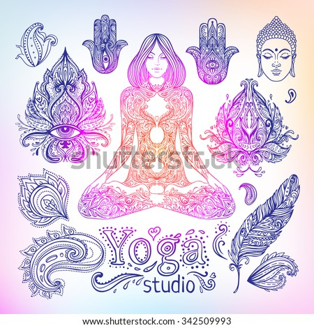 Yoga, meditation vector illustration set. Vintage decorative vector elements isolated. Hand drawn. Indian, Hindu paisley motifs. Tattoo, spirituality, prints for t-shirts and other textiles. - stock vector