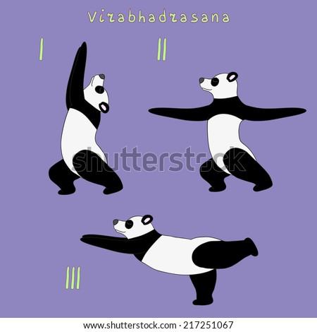 Yoga panda bear virabhadrasana pose, eps 8 file - stock vector