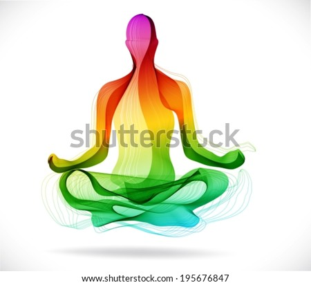 Yoga pose, Abstract color illustration over white background, lotus pose, VECTOR - stock vector