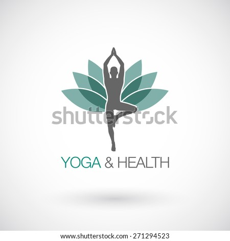 Yoga pose vector logo design template. Beauty, Spa, Relax, Massage, Meditation,concept icon. - stock vector