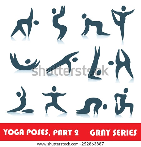 Yoga poses logo abstract people vector icons, part 2, gray series - stock vector