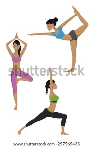 Yoga poses set - stock vector
