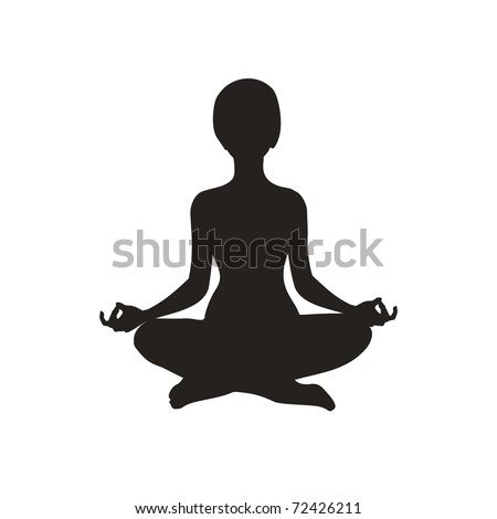 yoga silhouette - stock vector
