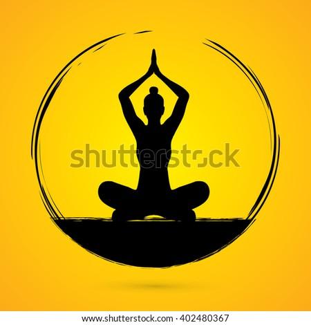 Yoga Sitting pose designed using grunge brush graphic vector. - stock vector