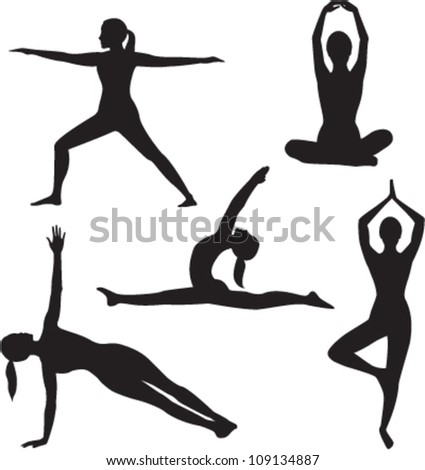 Yoga woman silhouette collection. Vector illustration - stock vector