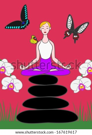 yoga woman sitting on zen stones with butterflies and orchids. - stock vector