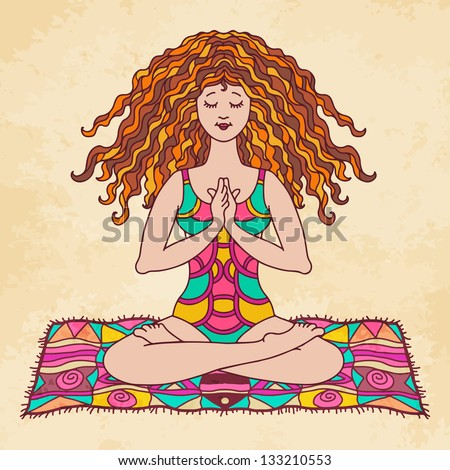 Yoga women in lotus poses on the mat - vector - stock vector