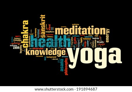 YOGA. Word cloud concept vector illustration on black - stock vector