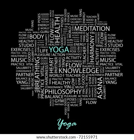 YOGA. Word collage on black background. Vector illustration. Illustration with different association terms. - stock vector