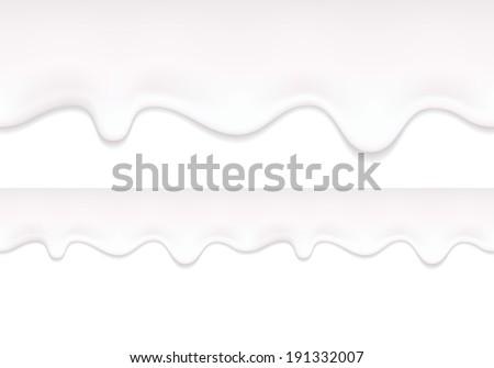 Yogurt drips. White milk product flowing. Seamless horizontal border. - stock vector