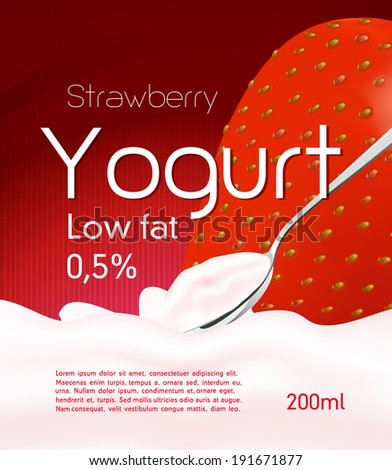 Yogurt with strawberry. Red vector illustration, background. - stock vector