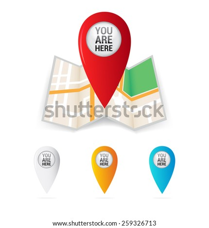 You Are Here Map Pointers - stock vector