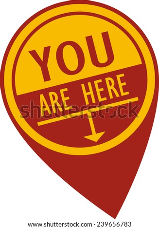 You Are Here Pin - stock vector