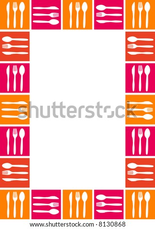 You can use this border with cutlery as a background for menu, mail, invitation, giftcard or as a picture-frame - stock vector