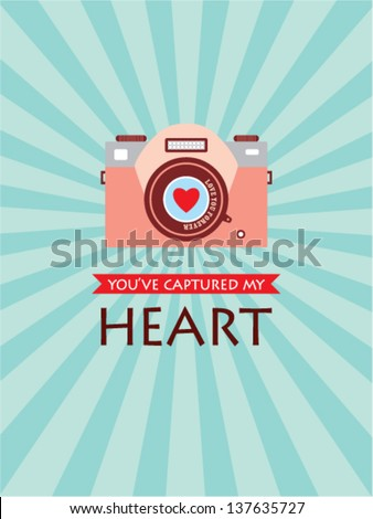 you have captured my heart camera card - stock vector