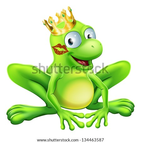 You have to kiss a lot of frogs to find a prince or princess. A frog wearing a crown with red lipstick on his or her cheek - stock vector