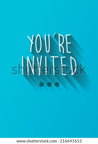 you're invited typo with shadow vector, wedding theme - stock vector