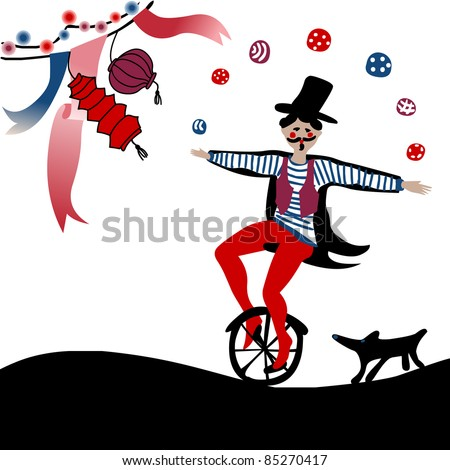 young acrobat juggling on a unicycle followed by his dog under party decoration - stock vector